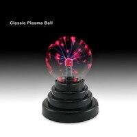 2017 Venda Quente engraçado Novo gadget USB Base de Magia Negra vidro Plasma Ball Esfera Relâmpago Lâmpada Partido Luz antiestresse lol surpresa