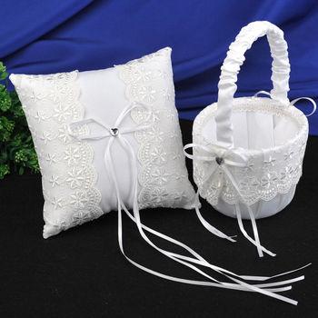цена на Lace Flower Lovely Ring Pillow Wedding Basket Flower Storage Basket Flower Girl Basket Lace Embellished Basket