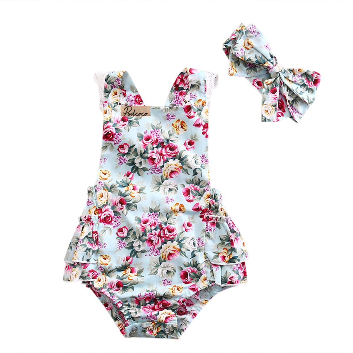 Summer Newest Newborn Kid Baby Girl Clothes Floral Sleeveless Cotton Outfits Set Lace Romper Playsuit