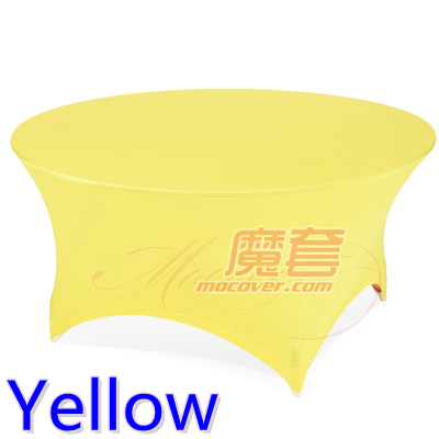 Yellow colour wedding table cloth lycra table cover spandex table linen hotel banquet party round tables decoration on sale