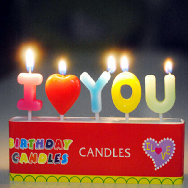 I LOVE YOU scented candles Cake decoration Small birthday candles