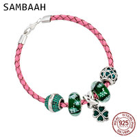 Sambaah 3mm Chain Italian Braided Leather Lucky Bracelet with 925 Sterling Silver Four Leaf Clover Green Charms Spring Bracelet