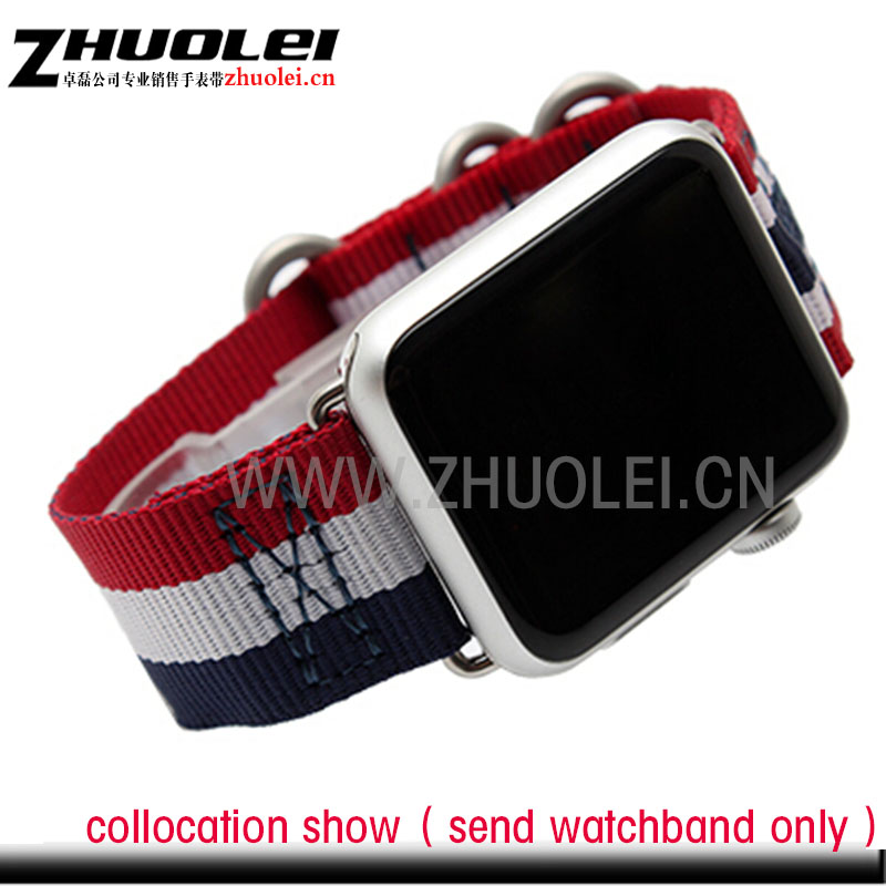 new style 38mm 42mm Stripe waterproof nylon strap watchband for apple watches Contains iWatch adapter