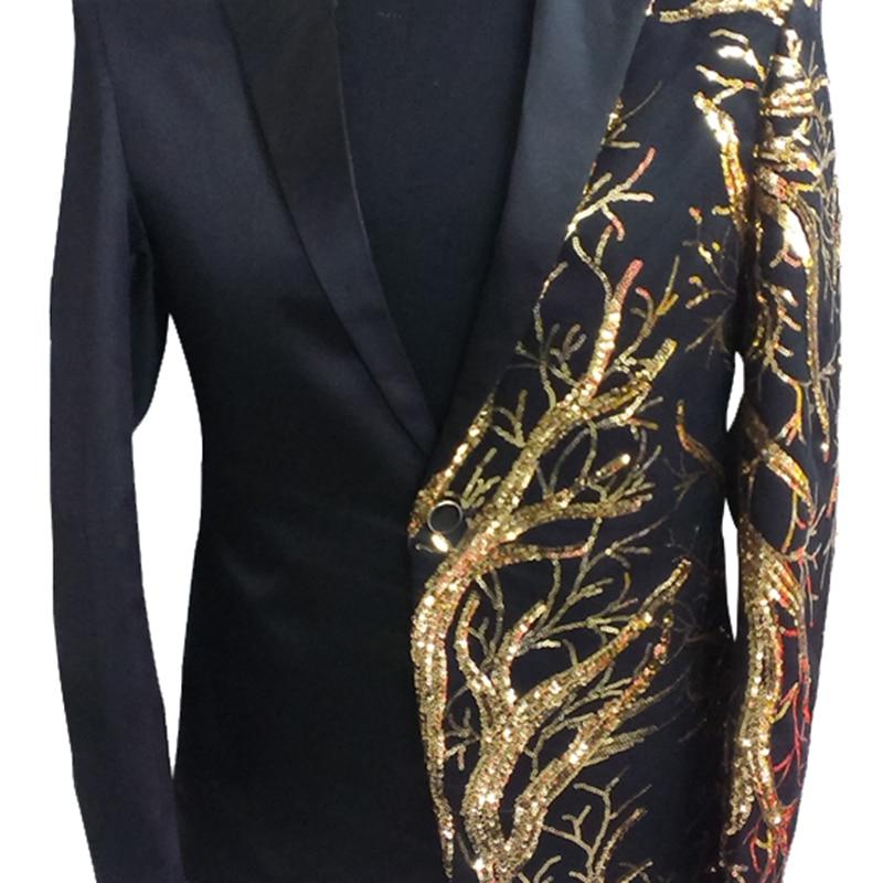 Nero Costume Cappotto Dj Di Degli Paillettes Il rosso Vestito Scena Uomo  Cantante Nero Giacche Giacca Maschile Oro ... db7b10335a6