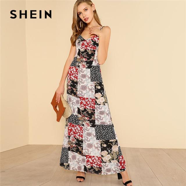 327dac293916 SHEIN Crisscross Back Floral Patchwork Print Cami Dress Women V Neck ...