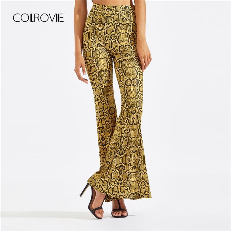 Pants & Capris Chic Animal Print Women Long Pants 2019 Spring Womens Snake Skin Joggers Trousers Ladies High Waist Flare Pants Feminine Pants