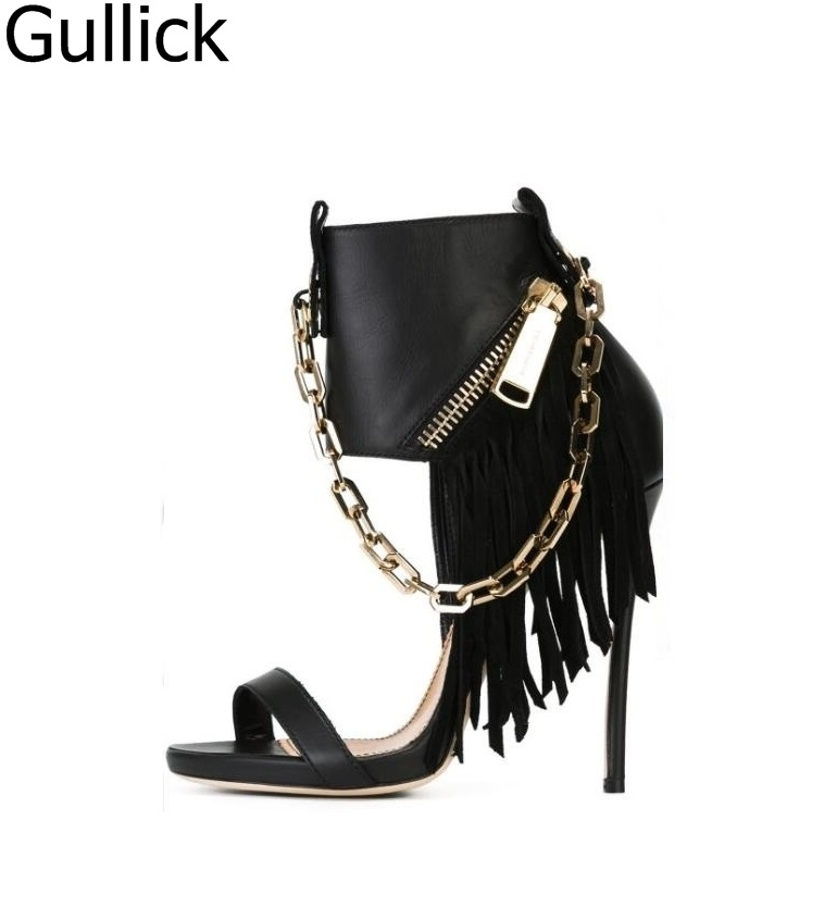 Women Punk Style Solid Black Leather Gold Chain Decoration Hollow Out Sandals Ankle Strap Side Zipper Fringe Decoration Heels punk style solid color hollow out rhinestone leaf shape pendant necklace for women