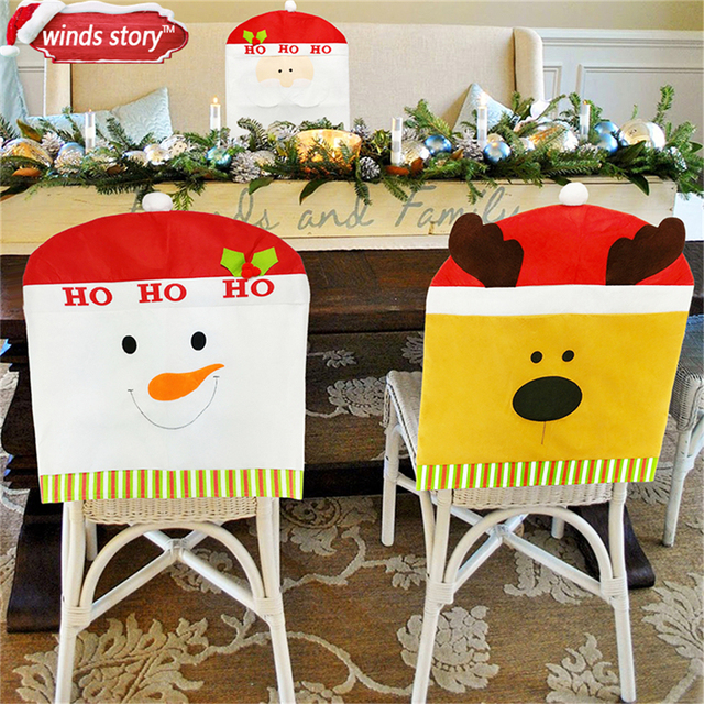 christmas chair covers white baby trend high target cover thicken decorations santa snowman reindeer party banquet dining natal
