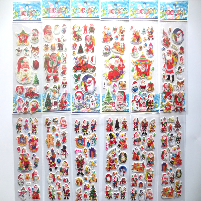 10pcs/lot Santa Claus stickers for kids Kawaii Christmas snowman diary scrapbooking DIY stickers stationery office school supply santa claus walking in the snow pattern stair stickers