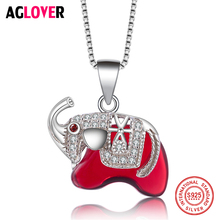 925 Sterling Silver Woman Necklace Cute Elephant Pendant Necklace AAA Crystal Jewelry pendant polar bear 2017 new fashion glam 925 silver jewelry thomas style sterling necklace cute gift for ts soul woman