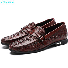 Men Dress Shoes Genuine Leather Shoes Crocodile Pattern Flats Oxfords Slip-on Wedding Office Business Men Casual Shoes 2016 men business genuine leather daily leisure oxfords casual crocodile wedding casual flat leather oxford men shoes