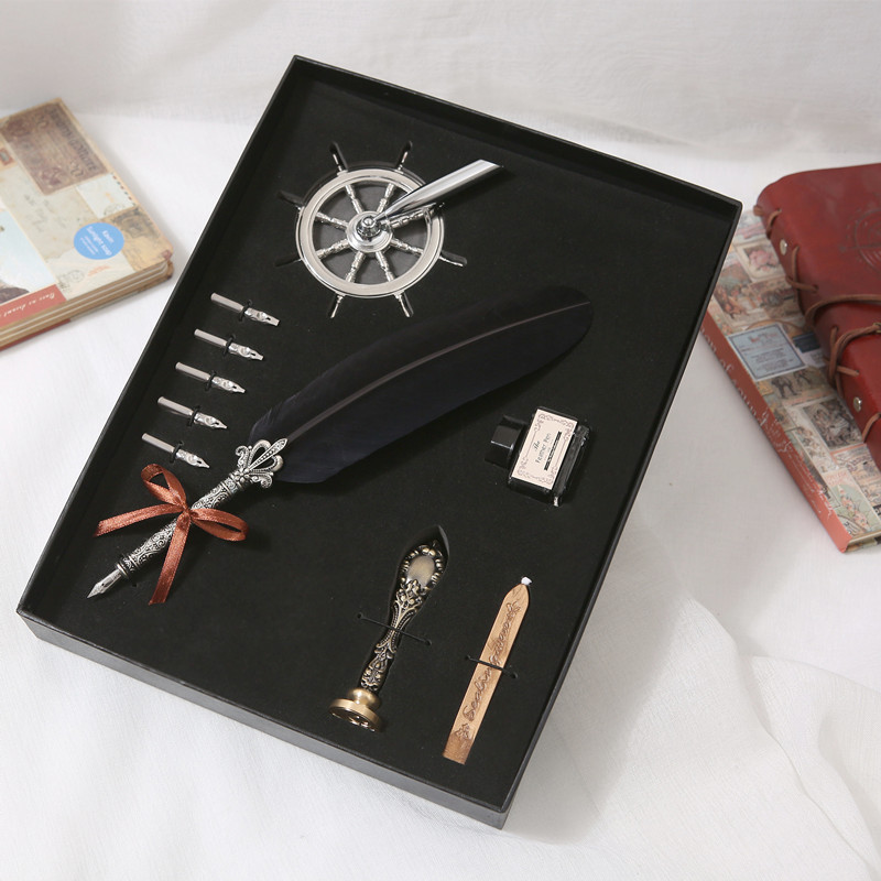 Retro Quill Feather Dip Pen Writing Ink Set Stationery Gift Box With 5 Nib Wedding Gift Quill Pen Fountain Pen Mother's Day Gift