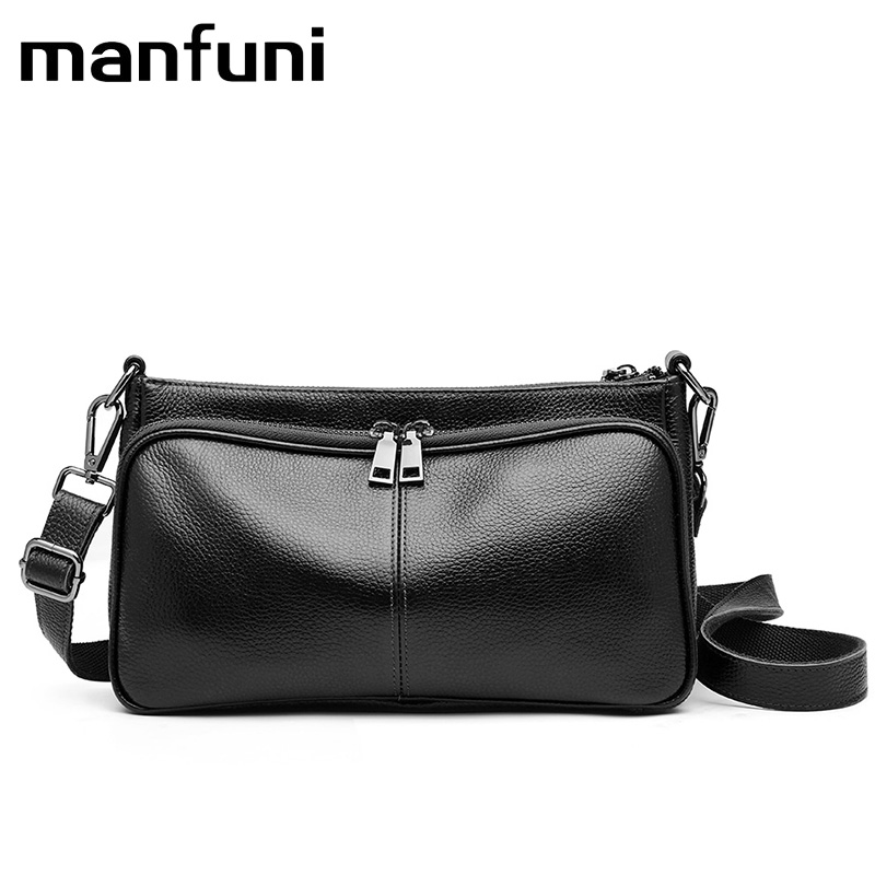 MANFUNI Genuine Leather woman handbag Wild leather diagonal shoulder bag Female Luxury Chains Bags Sequined Zipper Messenger Bag nevenka new design women fashion style handbag female luxury chains bags sequined zipper messenger bag quality pu leather tote
