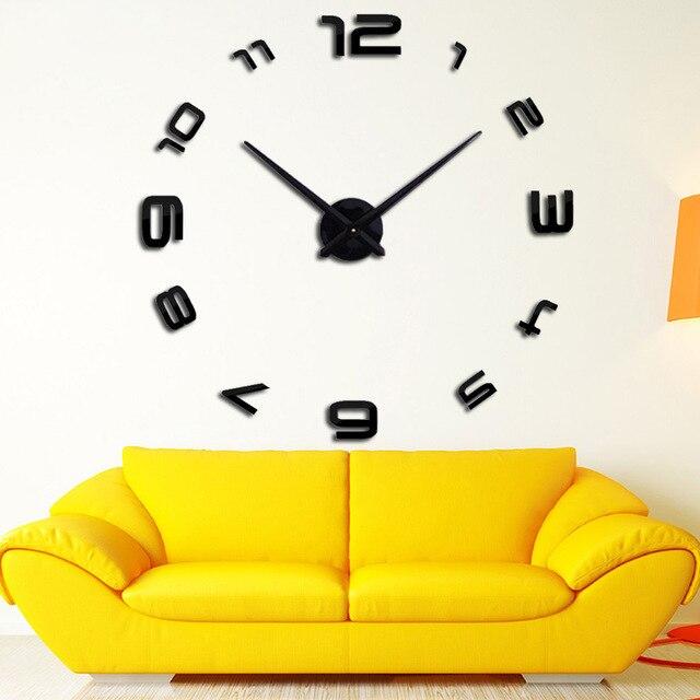 2018 3d factory best wall clock modern design rushed mirror sticker