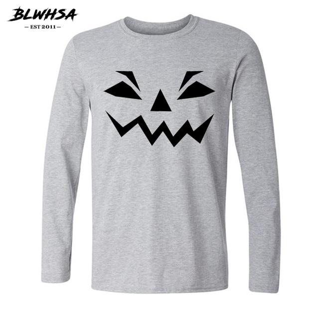 d376bdb1 BLWHSA Autumn Halloween Pumpkin Funny Printed T Shirt Men Long Sleeve  Cotton T-shirts interesting Halloween White Gray Tee Shirt