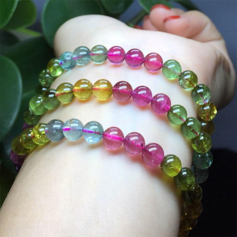 Naturel Top Grade véritable clair coloré mélange Tourmaline multicolore Bracelet extensible collier de perles rondes 3 tours 6.5mm 04444