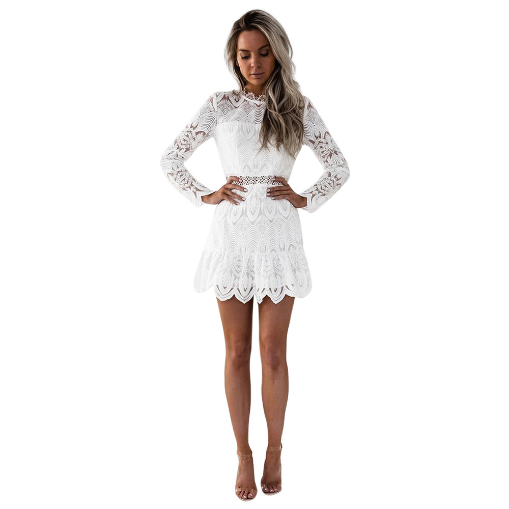 Free Ostrich <font><b>Sexy</b></font> Women Lady Long Sleeve Bodycon <font><b>Slim</b></font> Lace Mini <font><b>Dress</b></font> Cocktail Club Party <font><b>Dress</b></font> <font><b>Black</b></font> Autumn Clothing D0435 image