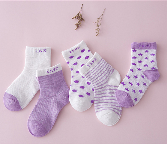 5 Pair=10PCS/lot Baby Socks Neonatal Summer Mesh Cotton Polka Dots Plain Stripes Kids Girls Boys Children Socks For 0-6 Year