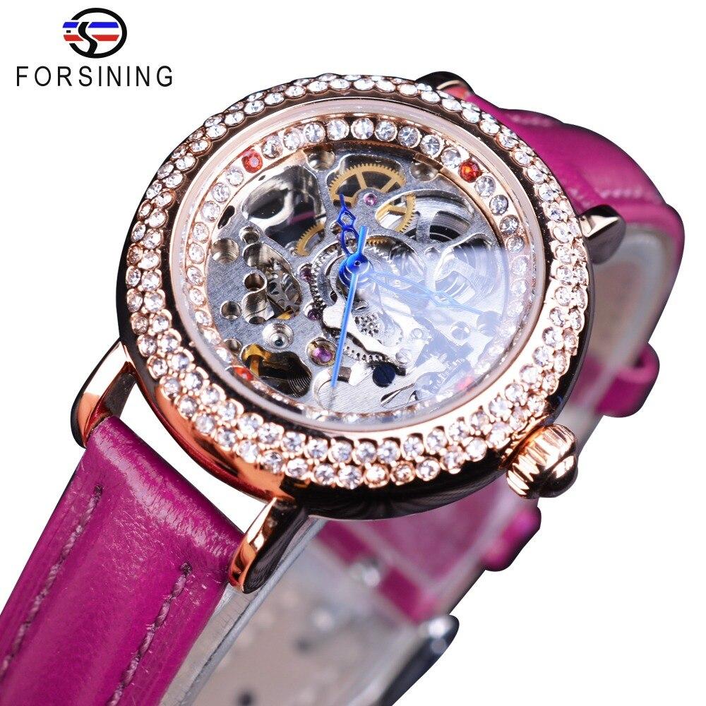 Forsining Diamond Display Purple Genuine Belt Ladies Female Small MILAN Street Women Casual Automatic Skeleton Wrist Watch Clock