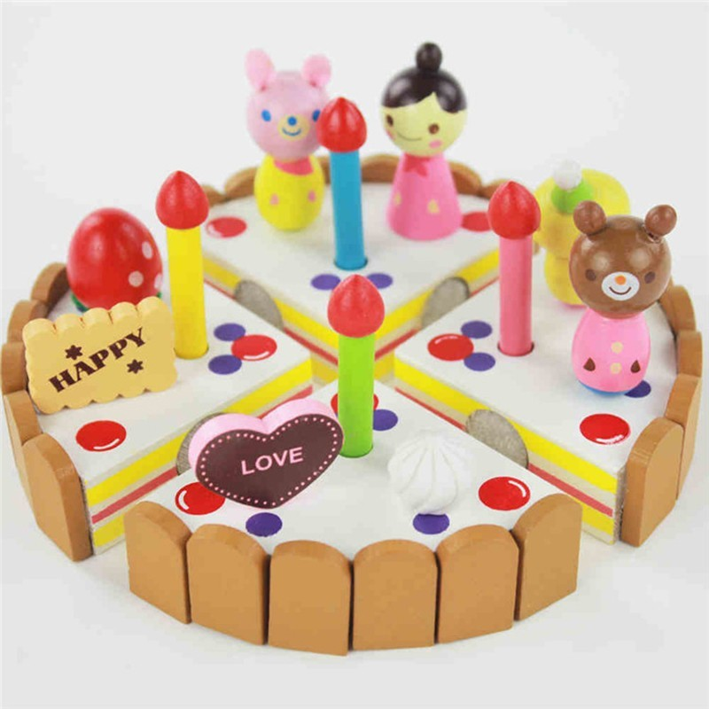 New Children Kitchen Toys Girl Assembled Birthday Gift Box Packing Strawberry Cake Wooden Cut Toy