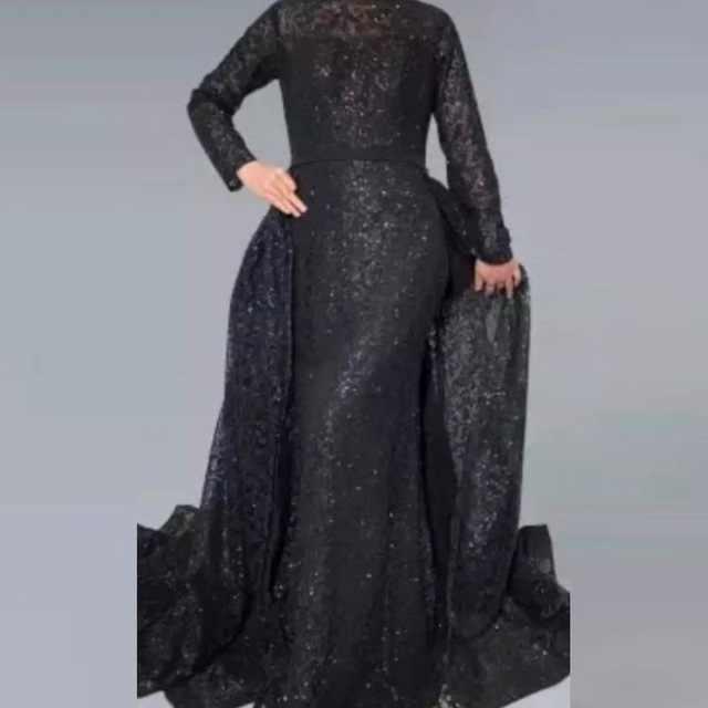 グリッターフォーマルドレス取り外し可能なスカート黒女性のイブニングドレスローブ · デ · ソワレは longue スパンコールパーティードレス abiye vestido ロンゴ