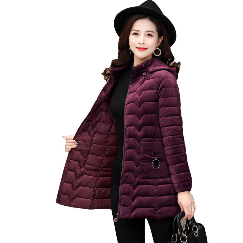 Plus Size 6XL Gold Velvet Cotton Womens   Parka   Long 2019 Winter New Coat Thick Hooded Cotton Female Down Jacket Outwear Padded