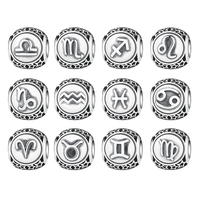 Vintage 925 Sterling Silve Aquarius Star Sign Zodiac Beads Charms Fit Bracelets DIY Twelve Constellations Accessories