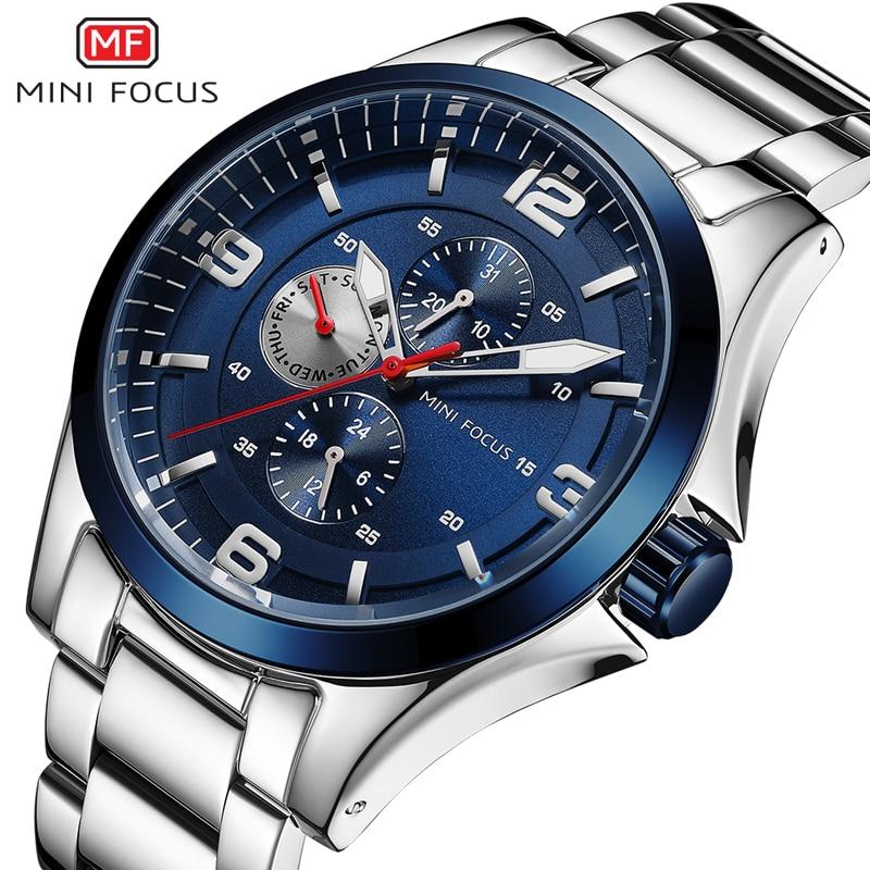 MINI FOCUS Mens Luminous Watches Stainless Steel Business Chronograph Quartz Wristwatch Army Relogios Masculino Clock 0199G