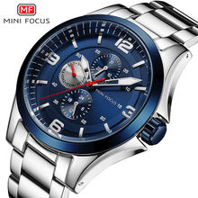 MINI FOCUS Men's Luminous Watches Stainless Steel Business Chronograph Quartz Wristwatch Army Relogios Masculino Clock 0199G king relogios k0672
