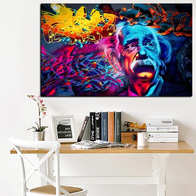 Einstein Brain Canvas Painting Abstract Pop Art Spray Painting On