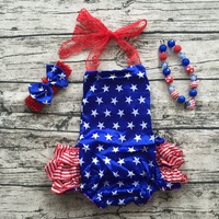 2017 Baby Girl fourth of july outfits summer Romper Pretty lace Romper newborn girl 4th of july baby satin outfit set star print