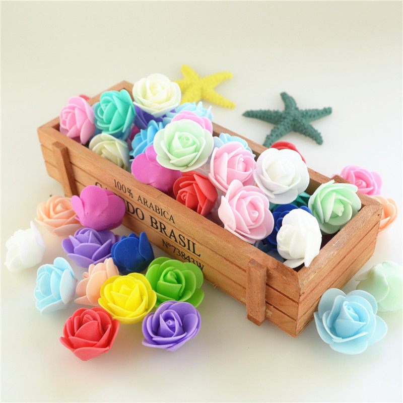 50pcs/Bag Multicolor Mini Rose Head Artificial Flowers For Wedding And Festival Party
