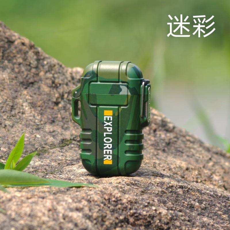 Explorer Outdoor Camouflage Wasserdicht Winddicht Doppel Arc Puls Plasma Zigarette Leichter USB Lade Elektrische Metall Leichter