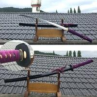 Ручной работы самурайский меч катана высокоуглеродистой сталь лезвие Полный Тан резкость готов для резка бамбука черный деревянный оболоч