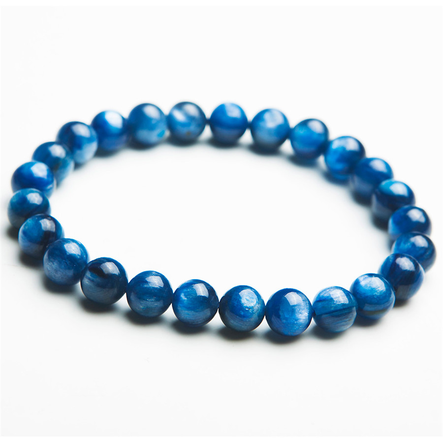 Whole 7mm Genuine Natural Blue Kyanite Gem Stone Round Bead Bracelets Crystal Stretch Charm Bracelet Femme In Strand From Jewelry