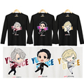 [Stock] Plus size Anime Yuri!!! on Ice Figures Victor Nikiforov Yuri Katsuki lisetsky Print Sweatshirt Sport Wear Cotton t-shirt