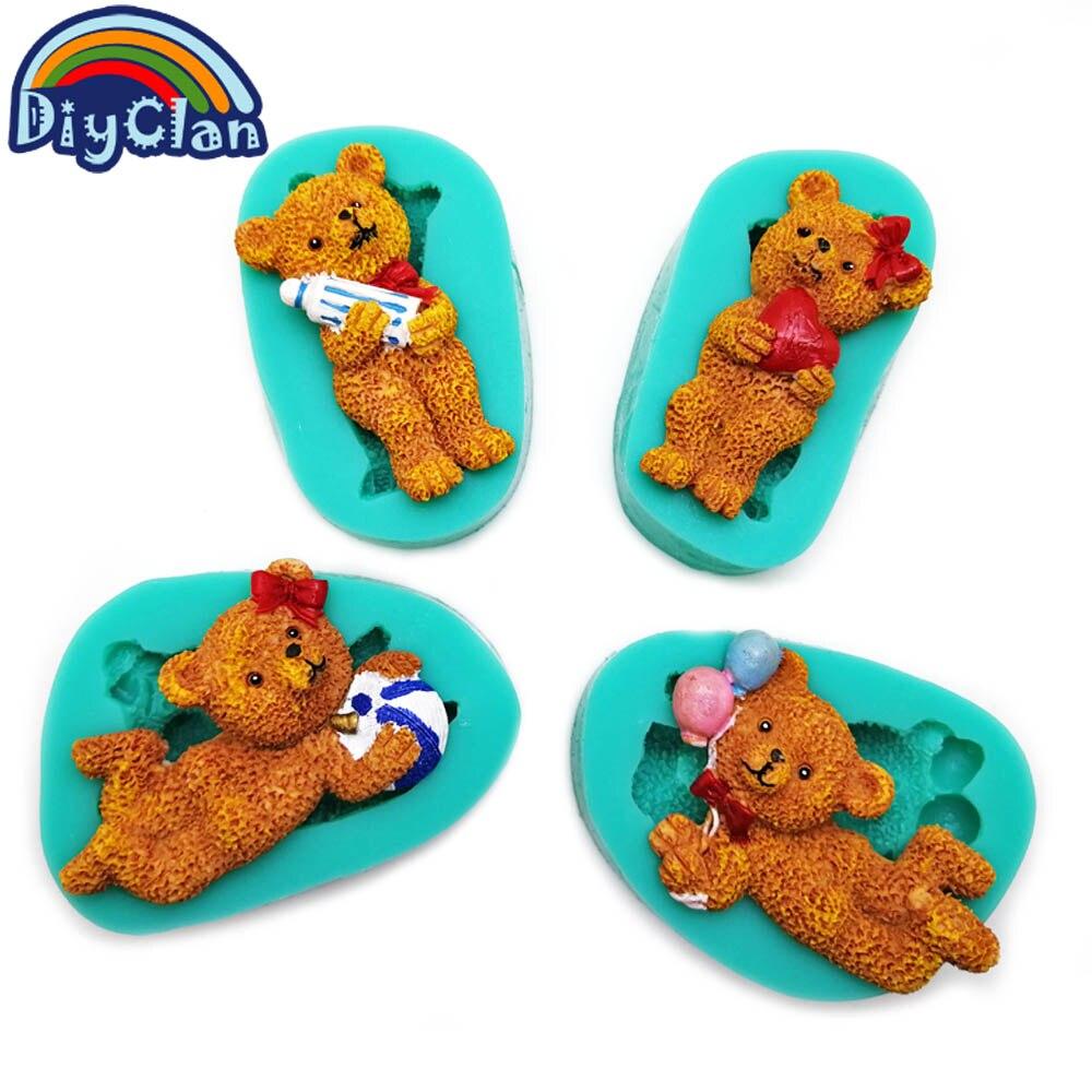 Teddy Bear serija cupcake silikonski kalup Cartoon Lovely Bear orodje - Kuhinja, jedilnica in bar