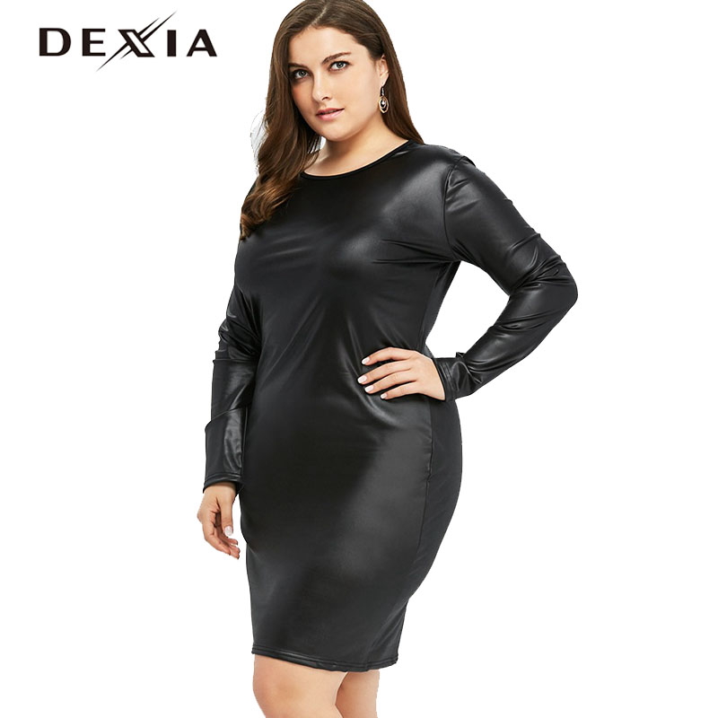48d801c8b70 DEXIA Plus Size Women Black Dresses O-neck Spring Full Sleeve Leather Dress  Sexy Bodycon
