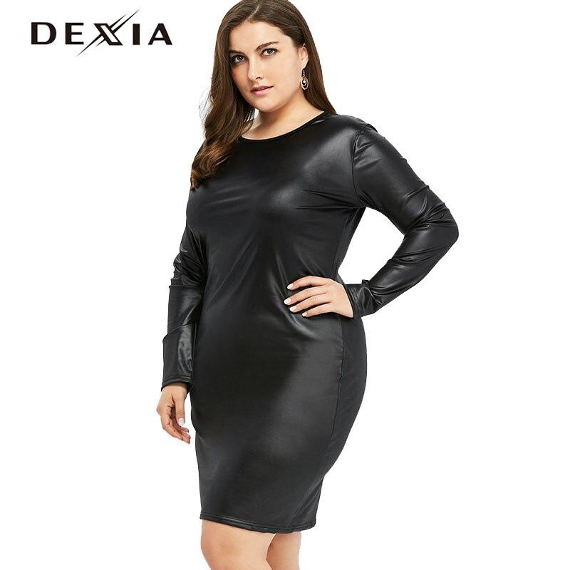 DEXIA Plus Size Women Black Dresses O-neck Spring Full Sleeve Leather Dress Sexy Bodycon Womens Elegant Vestidos Dress 78021 plus size women in leather