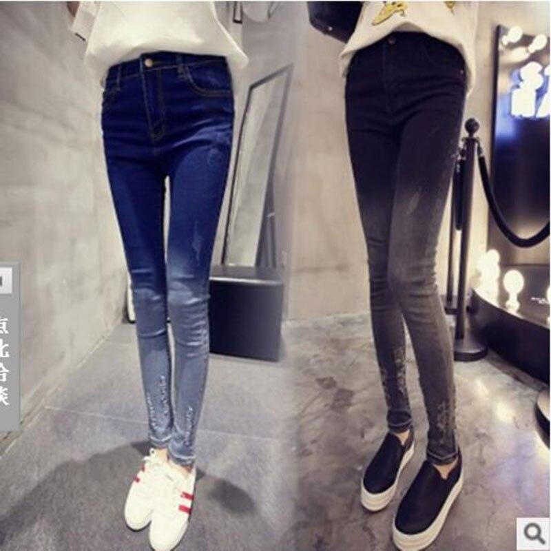 Hot Sale Skinny Jeans Woman Autumn New 2017Pencil Jeans For Women Fashion Slim Ankle-Length Jeans Women's Printed Denim Pants