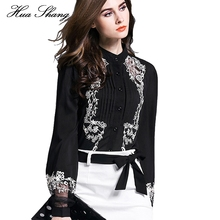 New Fashion Women Tops Embroidery Transparent Floral Lantern Sleeves Black Blouse Shirt Ladies Work Wear Office