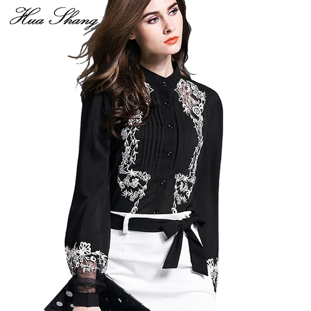 3818d3d746e New Fashion Women Tops Embroidery Transparent Floral Lantern Sleeves Black  Blouse Shirt Ladies Work Wear Office Chiffon Blouse