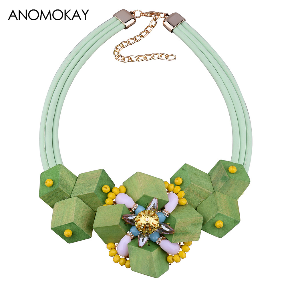 ANOMOKAY Simple Style Square Wood Bead Pendants Necklace Rhinestone Flower Necklace as Gift