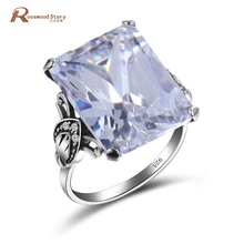 Vintage Pretty Women Jewelry Cubic Zircon December Birthstone Ring 925 Sterling Silver Big Crystal Rings For Wedding Engagement