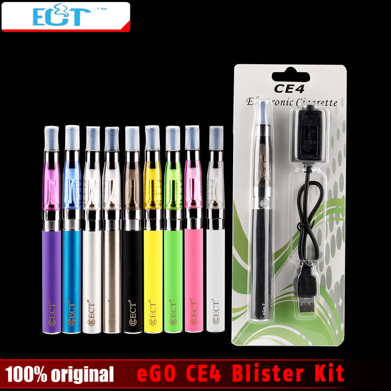Original ECT eGO CE4 Blister kits Packing Electronic Cigarette 650mah 900mah 1100mah battery with CE4 atomizer and charger