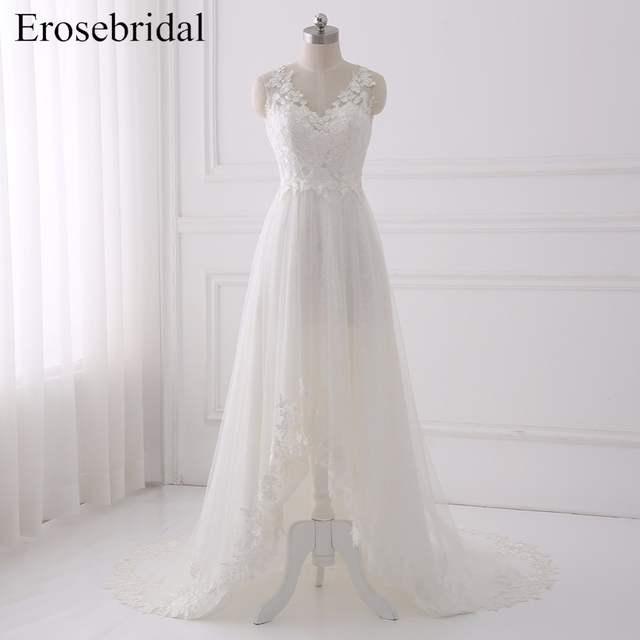 US $123.2 30% OFF|2018 High Low Wedding Dresses Erosrbridal Lace Wedding  Dress Plus Size Bridal Gown Elegant V Neck Vestido De Noiva GLT004-in  Wedding ...