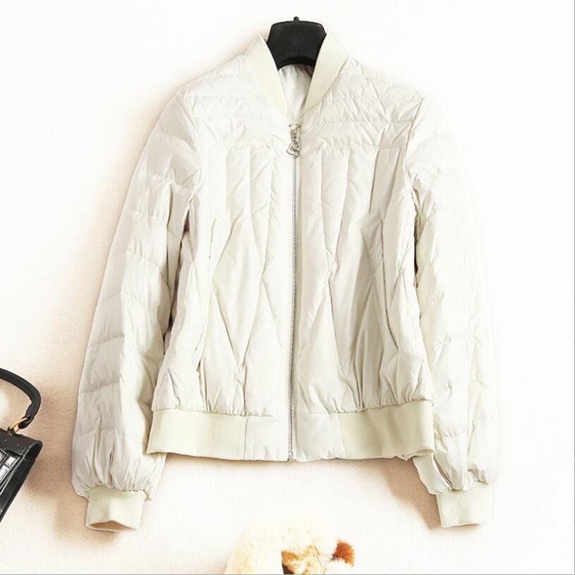 Court Zipper bleu Noir Blanc Femmes Mode De Femelle rose Noir blanc Mince Duvet Solide Veste Canard Nouvelle Manteaux Baseball Chaud Hiver wU6qxItXAn
