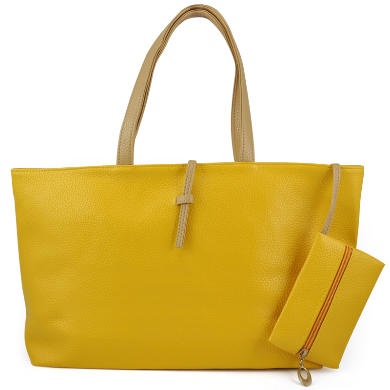 2X Hot Styleladies Girl Hobo PU Leather Tote Shoulder Bag Handbag - Yellow
