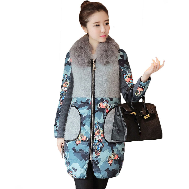 Flower Print Thick Parkas Women Winter Jacket 2018 Long Brand Fur Collar Women Coat Winter Down Jacket Big Size Warm Female Coat winter jacket female parkas hooded fur collar long down cotton jacket thicken warm cotton padded women coat plus size 3xl k450