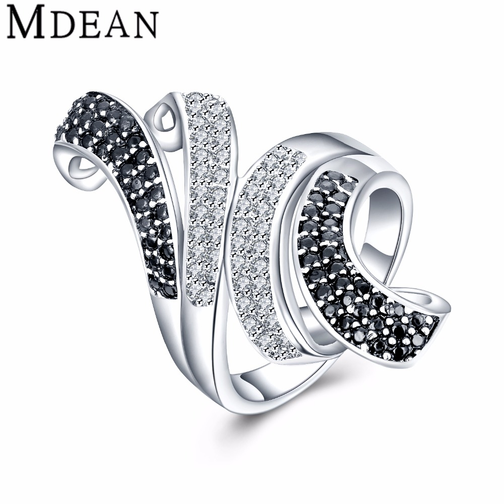 MDEAN New White Gold Plated Rings for women engagement CZ diamond jewelry vintage women wedding rings